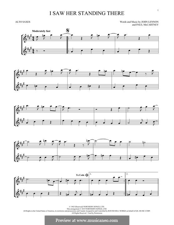 I Saw Her Standing There (The Beatles): For two alto saxophones by John Lennon, Paul McCartney