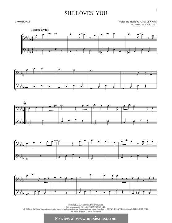 She Loves You (The Beatles): For two trombones by John Lennon, Paul McCartney