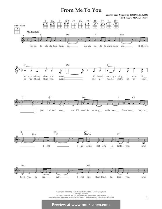 From Me to You (The Beatles): Для укулеле by John Lennon, Paul McCartney