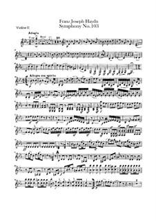 Симфония No.103 ми-бемоль мажор 'С тремоло литавр', Hob.I/103: Скрипка II by Йозеф Гайдн