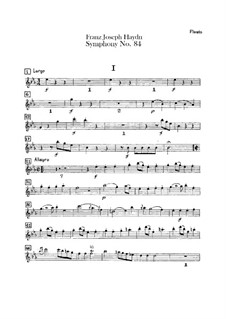 Симфония No.84 ми-бемоль мажор 'In nomine Domini', Hob.I/84: Партия флейты by Йозеф Гайдн