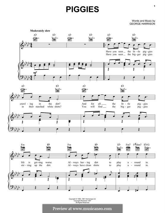 Piggies (The Beatles): Для голоса и фортепиано (или гитары) by George Harrison