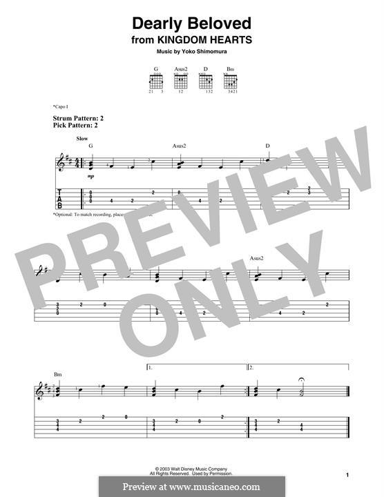Dearly Beloved (from Kingdom Hearts): Для гитары by Yoko Shimomura