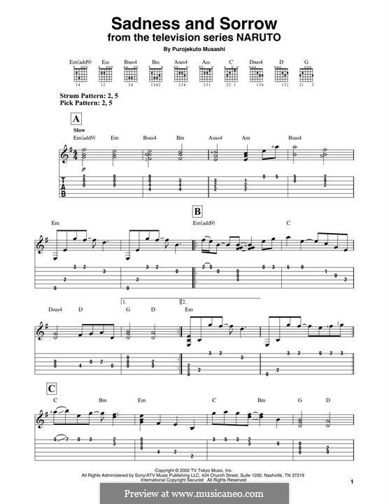 Sadness and Sorrow (from Naruto): Гитарная табулатура by Purojekuto Musashi