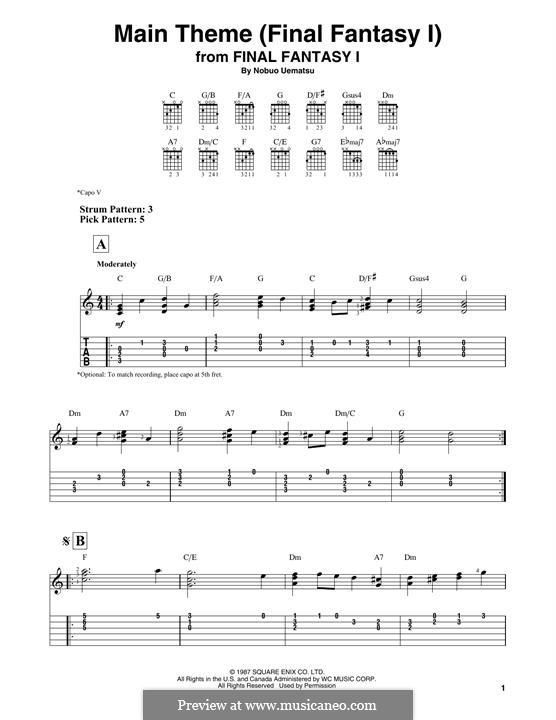 Main Theme (Final Fantasy I): Для гитары by Nobuo Uematsu