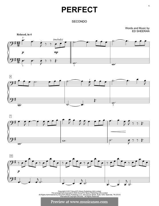 Perfect: Для фортепиано в 4 руки by Ed Sheeran