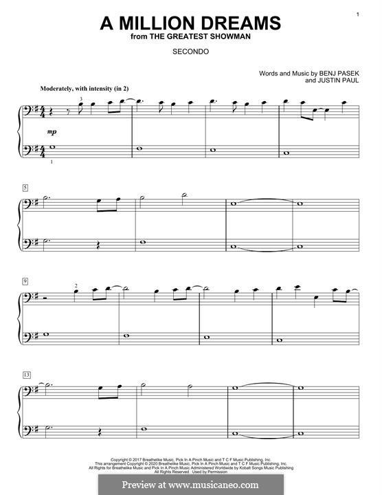 A Million Dreams (from The Greatest Showman): Для фортепиано (легкий уровень) by Justin Paul, Benj Pasek