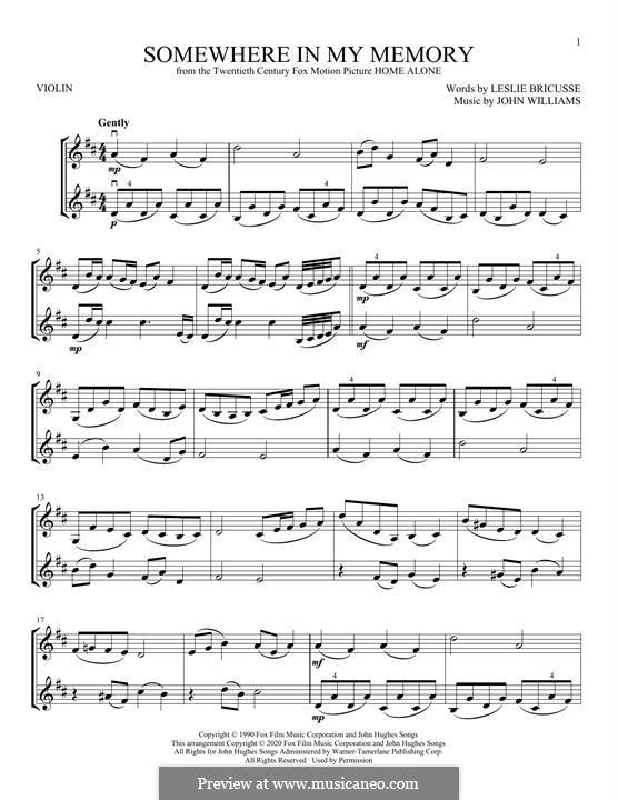 Somewhere in My Memory: Для скрипки by John Williams