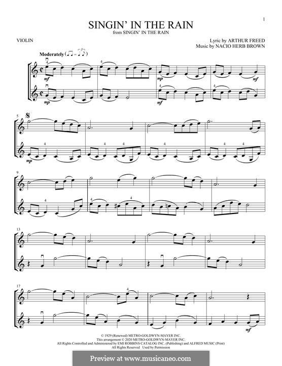 Singin' in the Rain (Gene Kelly): Для скрипки by Nacio Herb Brown