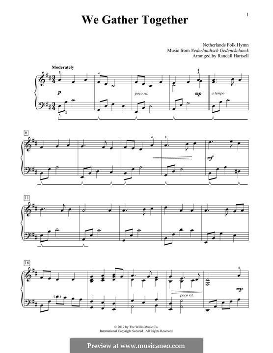 We Gather Together: Для фортепиано by folklore