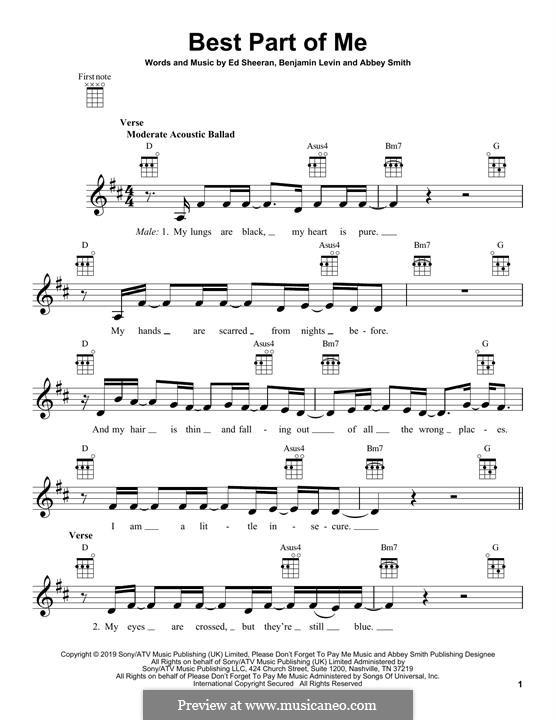 Best Part of Me (feat. YEBBA): Для укулеле by Ed Sheeran, Benjamin Levin, Ryan B Tedder