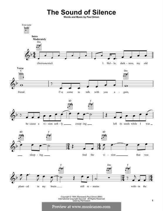 The Sound of Silence (Simon & Garfunkel): Для укулеле by Paul Simon