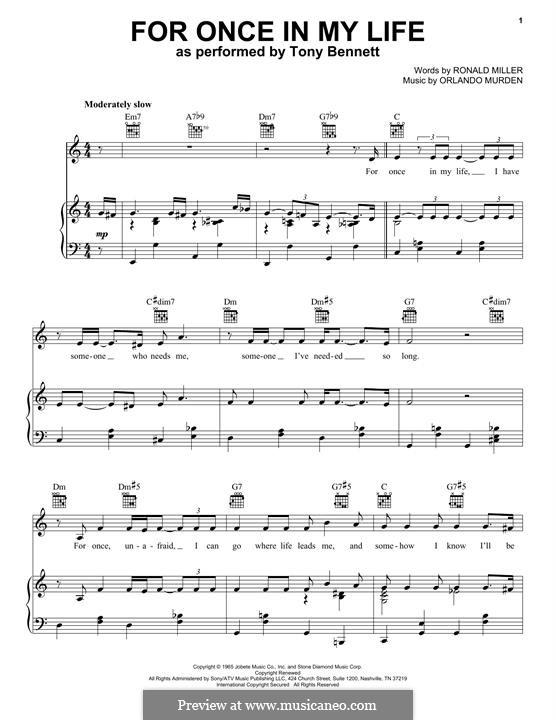 For Once in My Life: Для голоса и фортепиано (Tony Bennett) by Orlando Murden, Ronald Miller