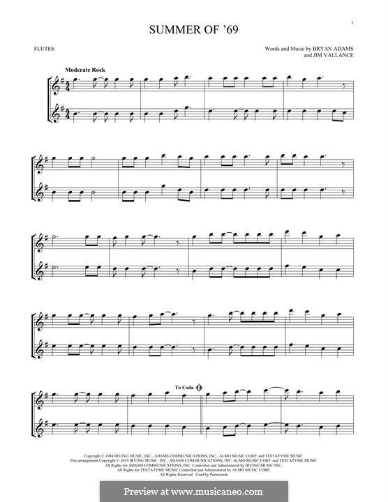 Summer of '69: Для двух флейт by Bryan Adams, Jim Vallance
