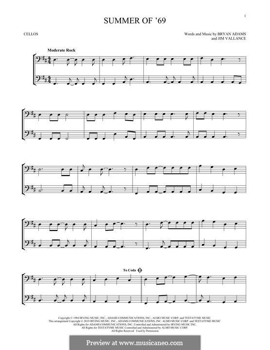 Summer of '69: Для двух виолончелей by Bryan Adams, Jim Vallance
