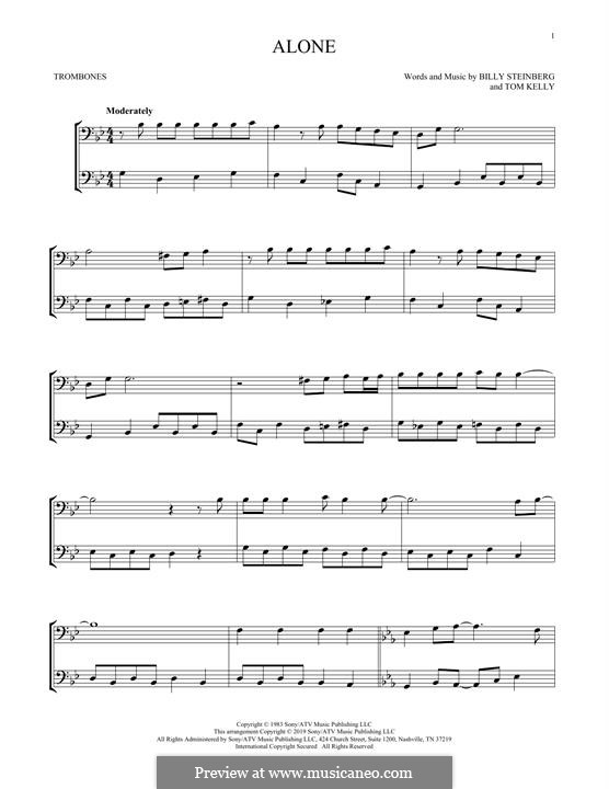 Alone: For two trombones by Billy Steinberg, Tom Kelly