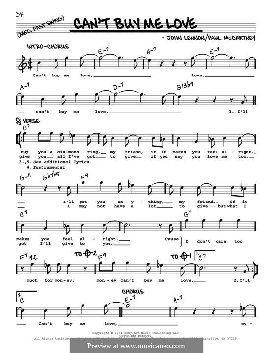 Piano-vocal version: Melody line (jazz version) by John Lennon, Paul McCartney
