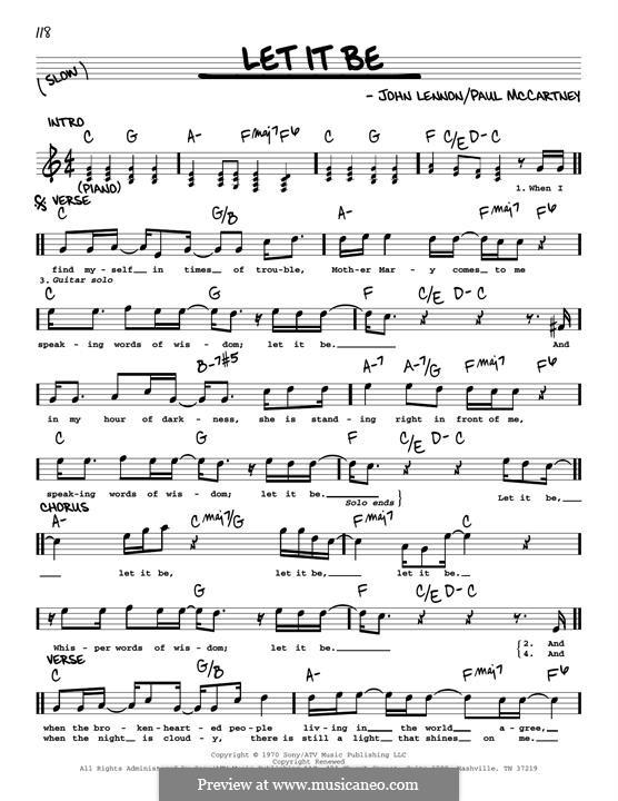 Let it Be, for Piano: Melody line (jazz version) by John Lennon, Paul McCartney