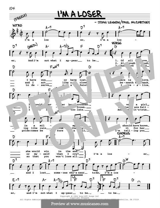 I'm a Loser (The Beatles): Melody line (jazz version) by John Lennon, Paul McCartney