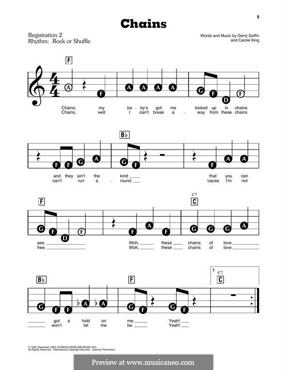 Chains: Для фортепиано (легкий уровень) by Carole King, Gerry Goffin