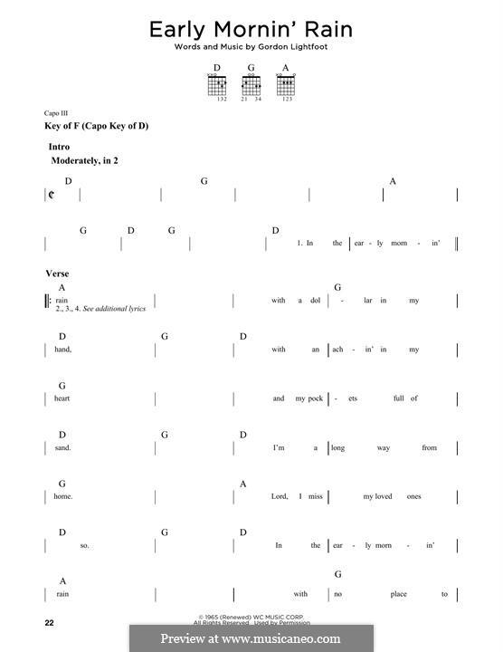 Early Morning Rain (Eva Cassidy): Гитарная табулатура by Gordon Lightfoot