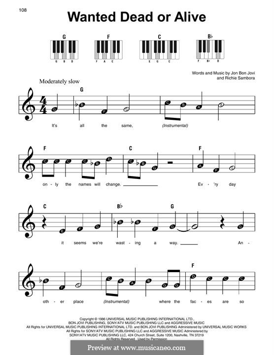 Wanted Dead or Alive (Bon Jovi): Для фортепиано (легкий уровень) by Jon Bon Jovi, Richie Sambora