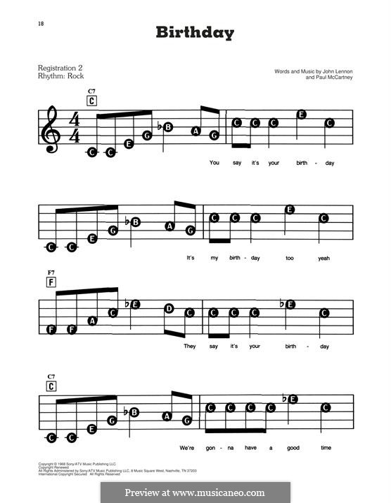 Birthday (The Beatles): Для фортепиано (легкий уровень) by John Lennon, Paul McCartney