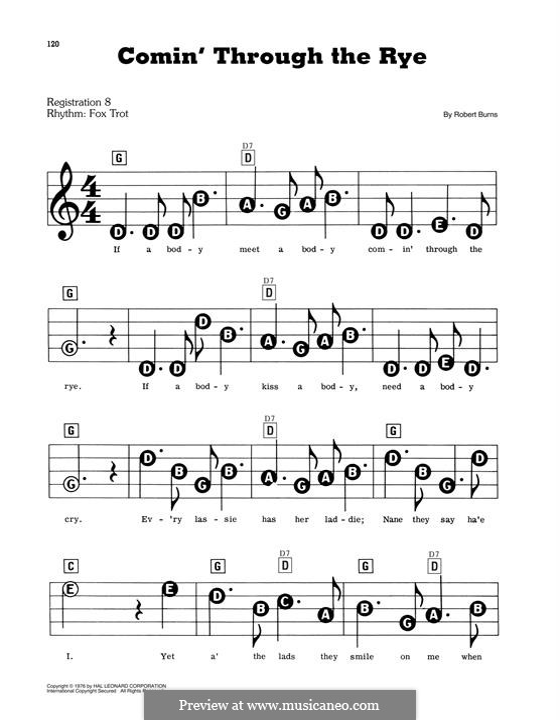 Comin' thro' the Rye: Для фортепиано by folklore