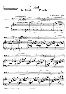 Le Regret for Cello and Piano, Op.10: Le Regret for Cello and Piano by Aleksandr Vasilievich Kuznetsov