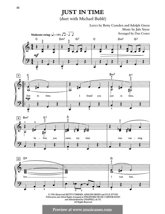 Just in Time (Frank Sinatra): Для фортепиано (легкий уровень) by Jule Styne