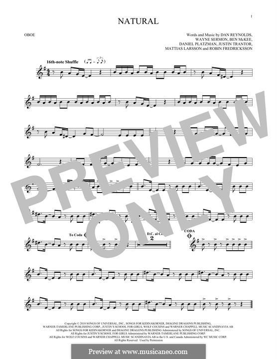 Natural (Imagine Dragons): For oboe by Benjamin McKee, Daniel Reynolds, Daniel Platzman, Justin Tranter, Mattias Larsson, Robin Fredriksson, Wayne Sermon