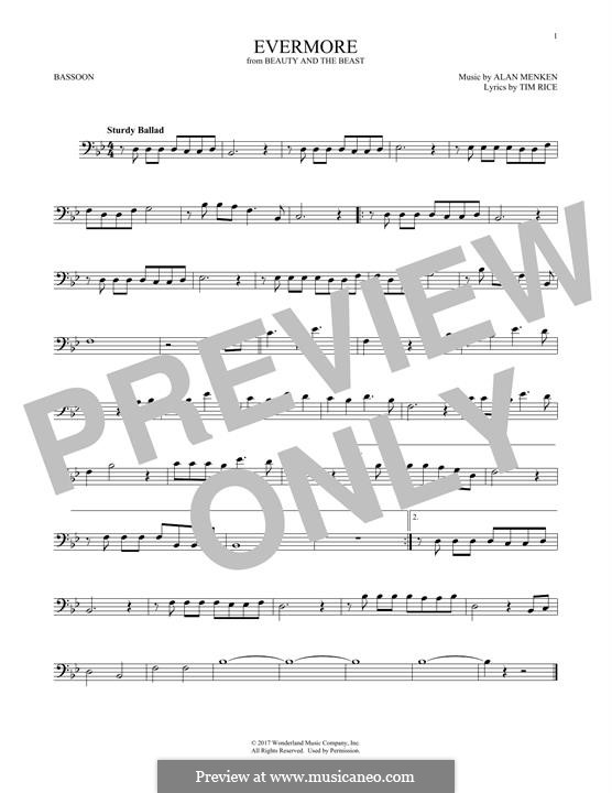 Evermore (from Beauty and the Beast): For bassoon by Alan Menken