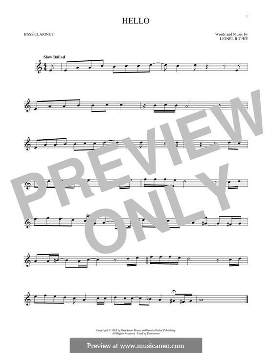 Hello: Bass clarinet by Lionel Richie