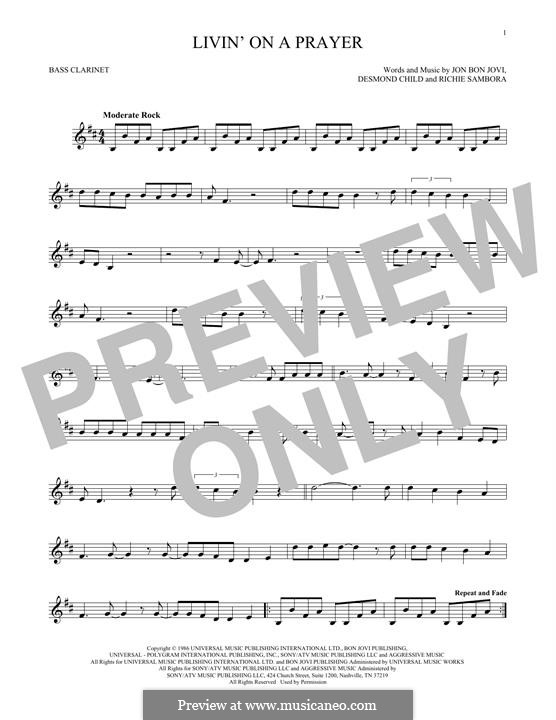 Livin' on a Prayer (Bon Jovi): For bass clarinet part by Desmond Child, Jon Bon Jovi, Richie Sambora