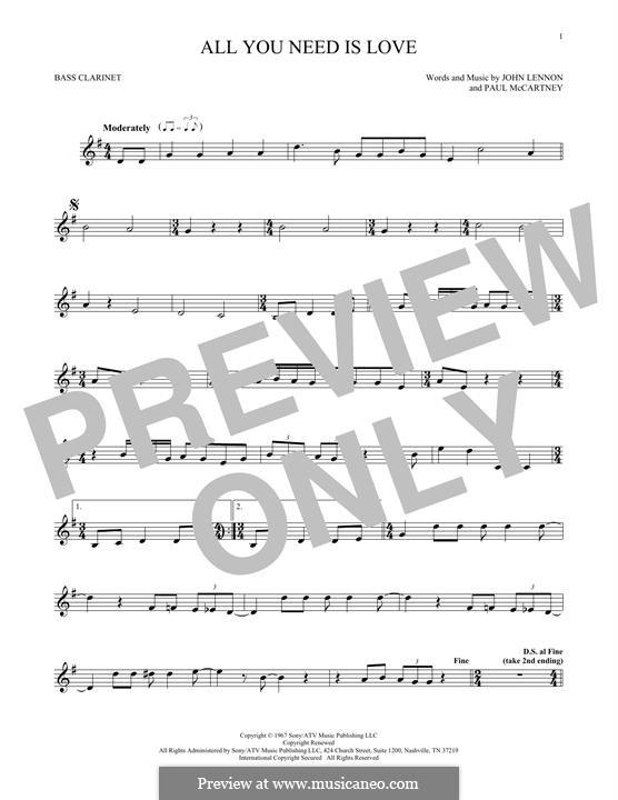 All You Need Is Love (The Beatles): Bass clarinet by John Lennon, Paul McCartney