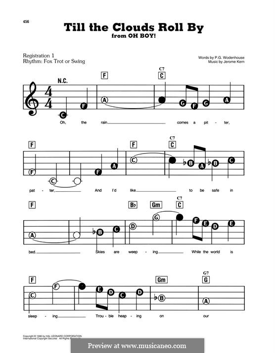 Till the Clouds Roll By (from Oh Boy!): Для фортепиано by Джером Керн