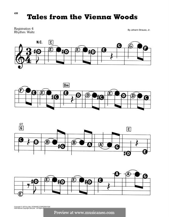 Сказки Венского леса, Op.325: Для фортепиано (легкий уровень) by Иоганн Штраус (младший)