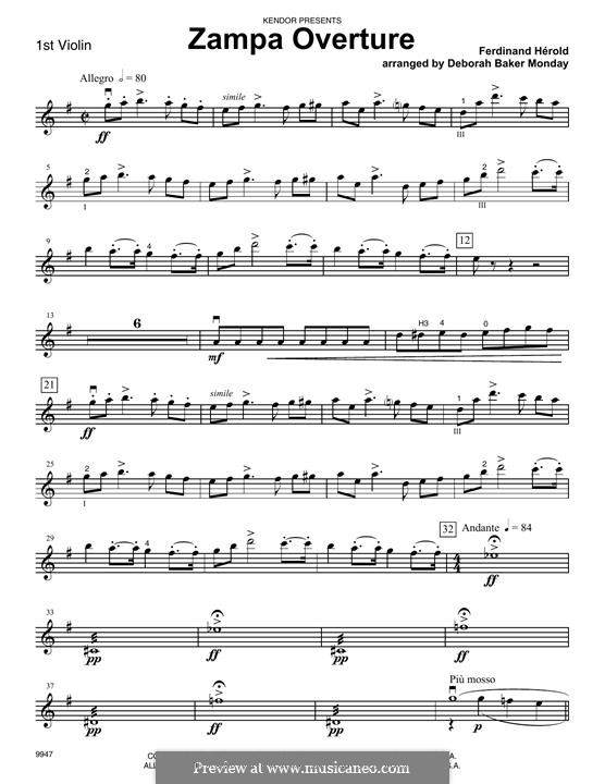 Цампа, или Мраморная невеста: Overture, for strings – 1st Violin part by Фердинанд Герольд