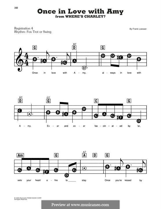 Once in Love with Amy (from Where's Charley?): Для фортепиано (легкий уровень) by Frank Loesser