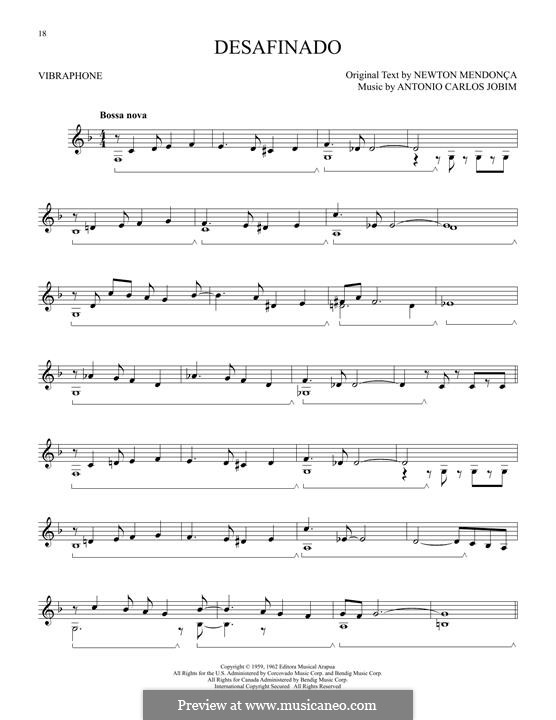 Desafinado (Slightly Out of Tune): For vibraphone by Antonio Carlos Jobim