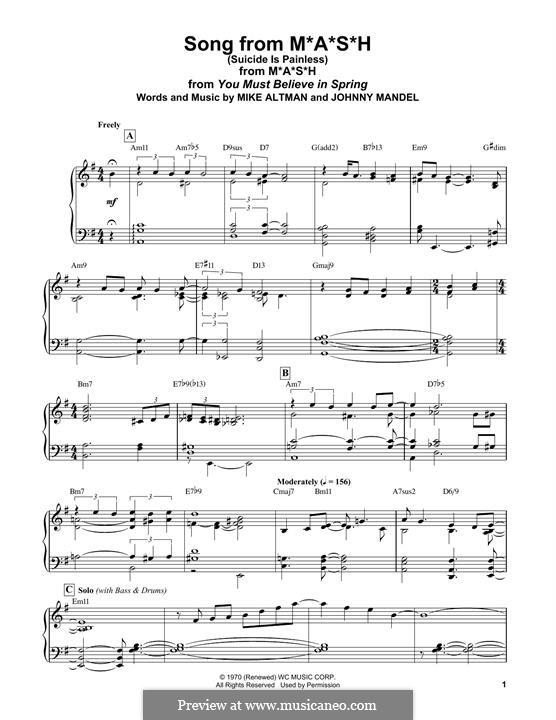 M.A.S.H. (Suicide is Painless): Для фортепиано (легкий уровень) by Johnny Mandel