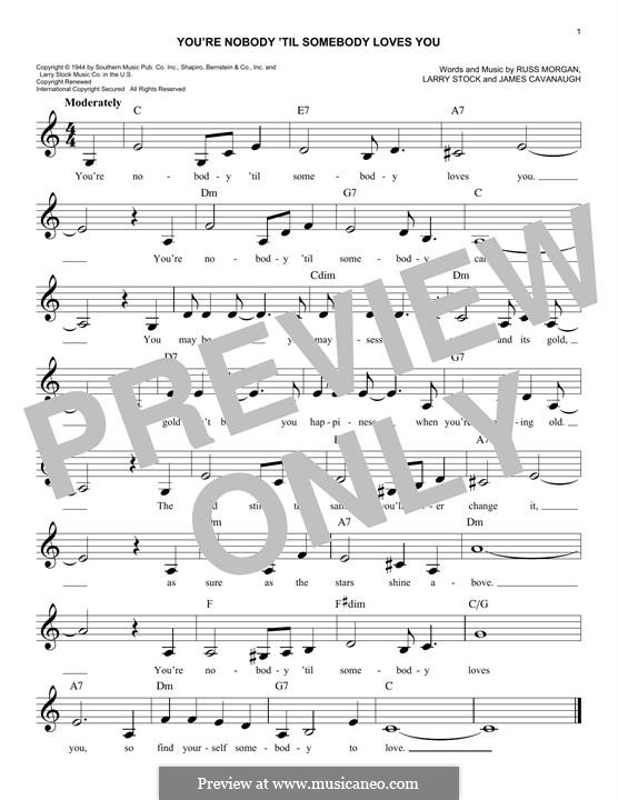 You're Nobody 'Til Somebody Loves You: Для клавишного инструмента by Benjamin Kohn, Booker T. Jones, Peter Kelleher, Thomas Barnes, William Bell, James Arthur