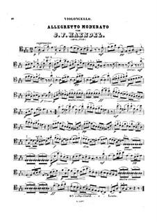 Соната для скрипки и клавесина ля мажор, HWV 361 Op.1 No.3: Часть IV. Версия для виолончели и фортепиано – Партия виолончели by Георг Фридрих Гендель