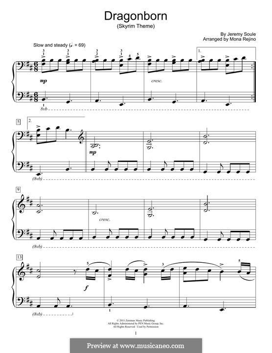 Dragonborn (Skyrim Theme): Для фортепиано by Jeremy Soule