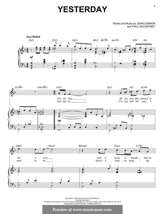 Yesterday (The Beatles): For voice and piano (jazz version) by John Lennon, Paul McCartney
