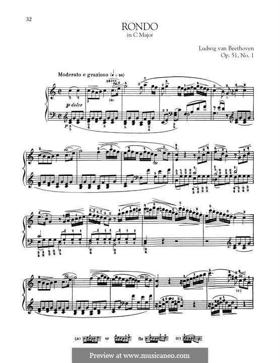 Два рондо для фортепиано, Op.51: Rondo No.1 by Людвиг ван Бетховен