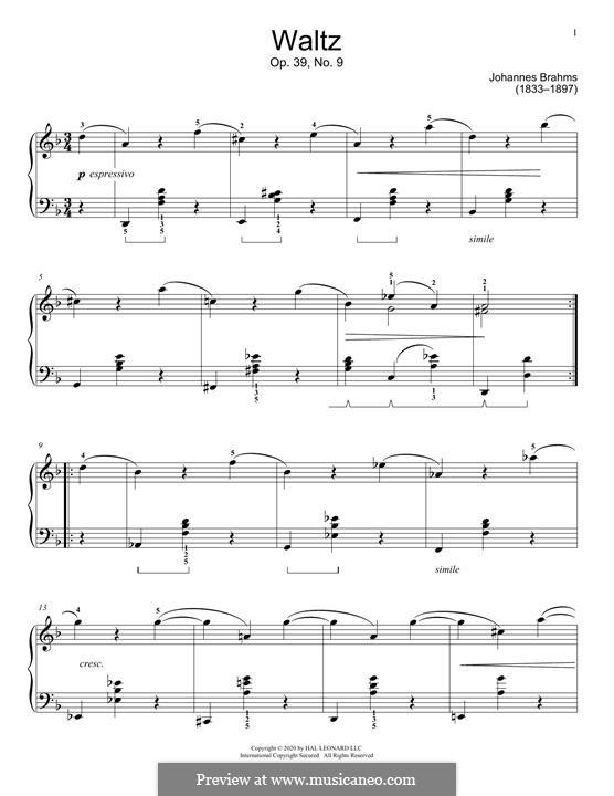 Вальс No.9: Аранжировка для фортепиано by Иоганнес Брамс