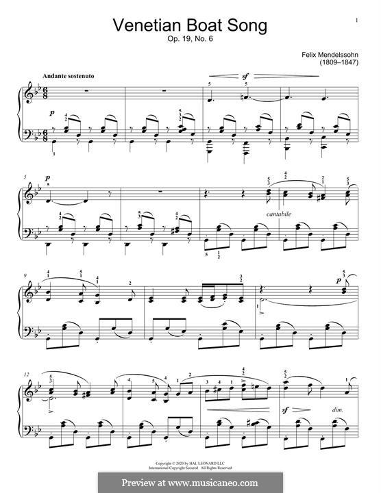 Песни без слов, Op.19b: No.6 Venezianisches Gondellied by Феликс Мендельсон-Бартольди