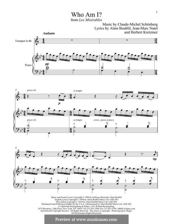Who am I?: For trumpet and piano by Claude-Michel Schönberg