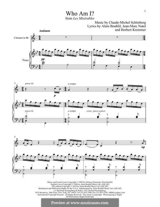 Who am I?: Для кларнета и фортепиано by Claude-Michel Schönberg